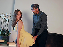 Kayla Paris in nice yellow dress fucked on the living-room table